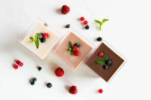 Proteínový puding čokoláda, vanilka, tiramisu